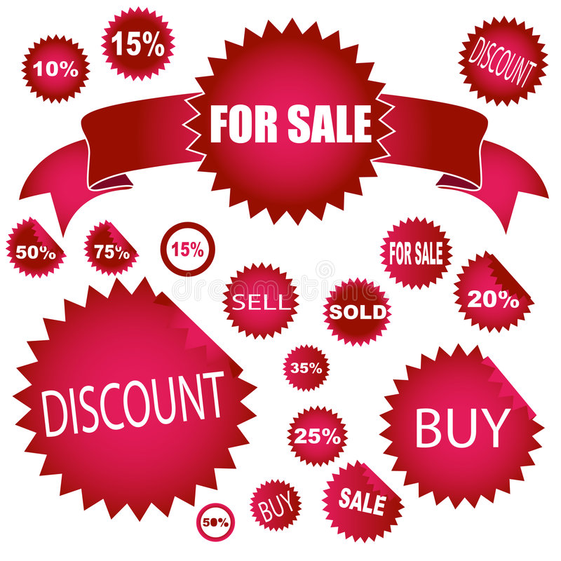 Sale stickers. Set of different shapes of sale stickers royalty free illustration
