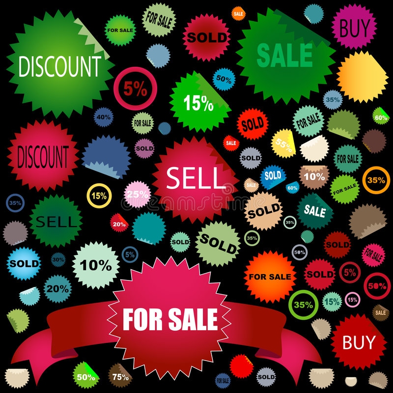 Sale stickers. Set of different colors and shapes of sale stickers stock illustration
