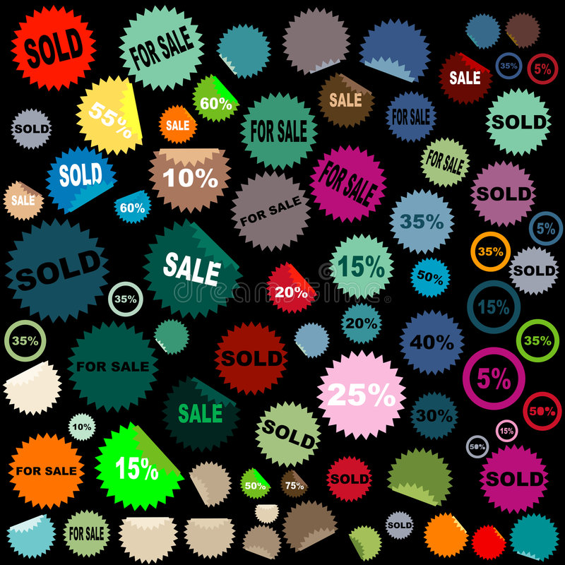 Sale stickers. Set of different shapes and colors of sale stickers vector illustration
