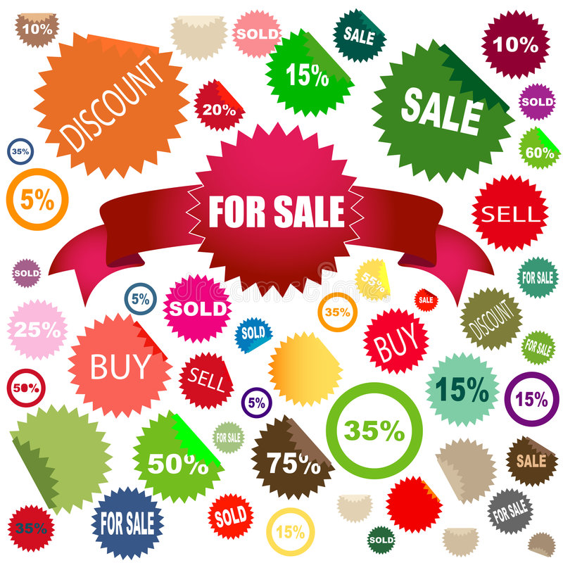 Sale stickers. Set of different colors and shapes of sale stickers royalty free illustration