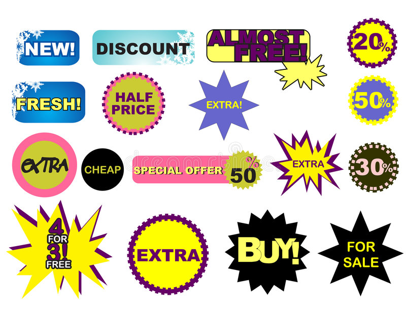 Sale stickers. With discount for windows and print stock illustration