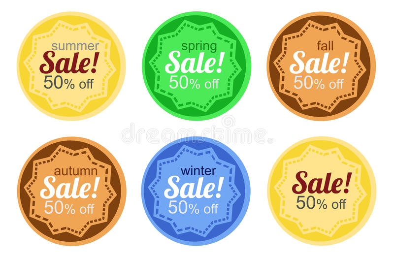 Sale stickers. According to the annual seasons stock illustration