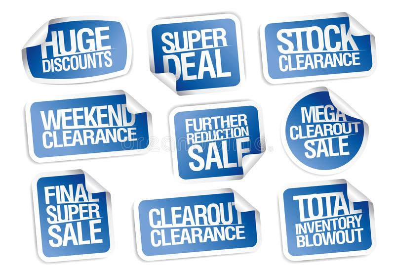Sale stickers collection - huge discounts, super deal, clearance. Weekend offers vector illustration