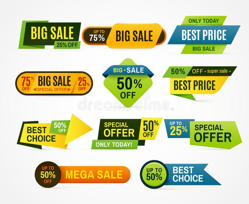 Sale stickers. Price tag label. Banner sticker or abstract flyer. Graphic for offer labels design template vector. Sale stickers. Price tag label. Banner sticker vector illustration