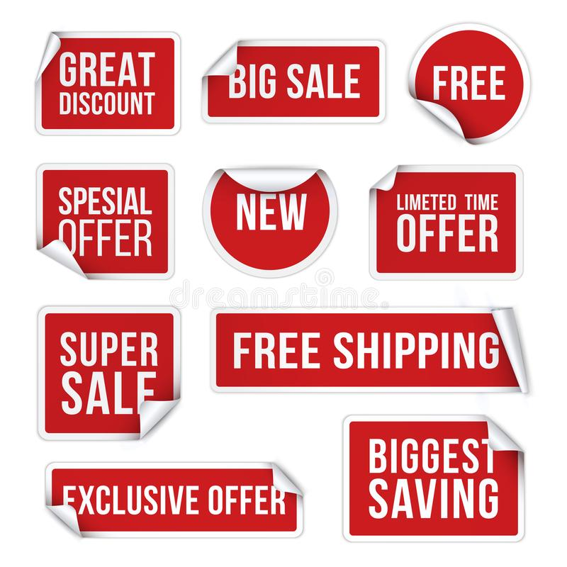 Sale stickers, promotional labels realistic vector illustration set vector illustration