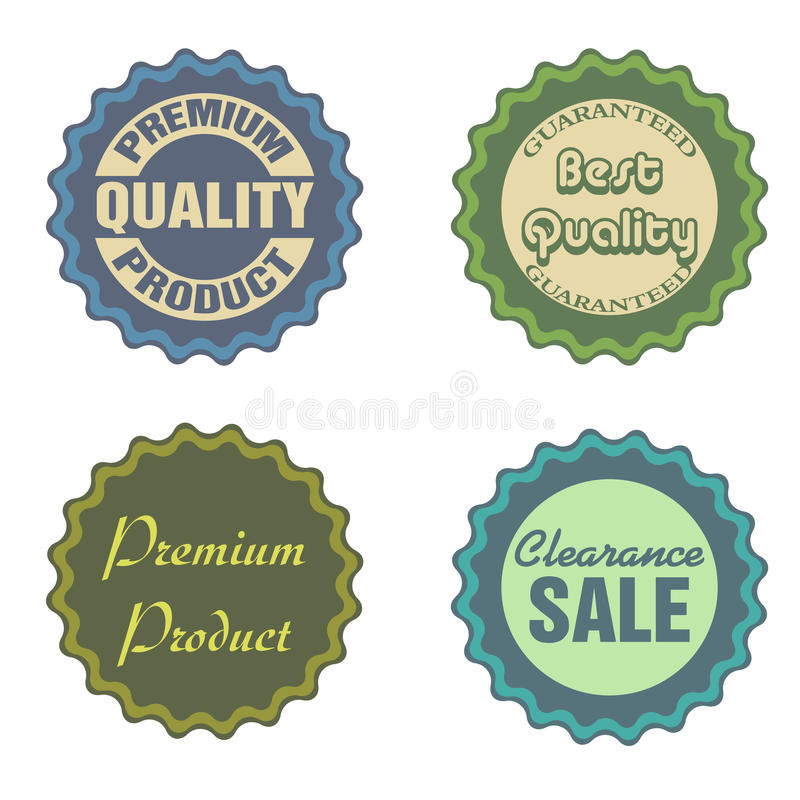 Sale stickers. Set of four sale stickers isolated on a white background royalty free illustration