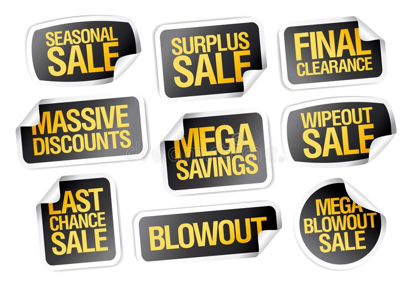 Sale stickers set - seasonal sale, final clearance stock illustration