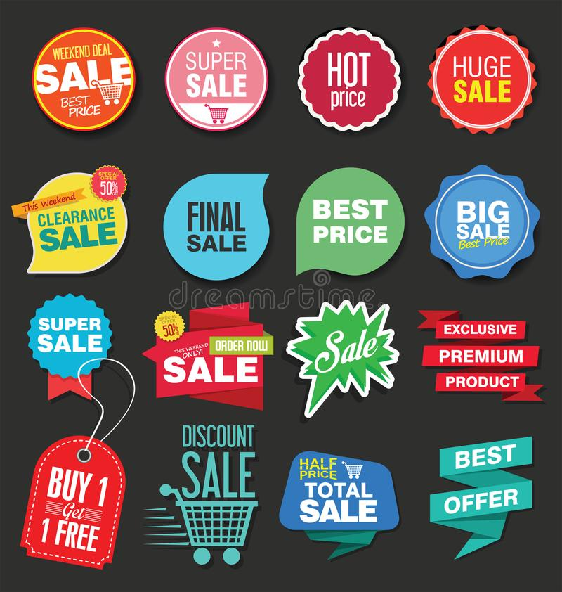 Sale stickers vector illustration collection. Sale stickers vector illustration set stock illustration