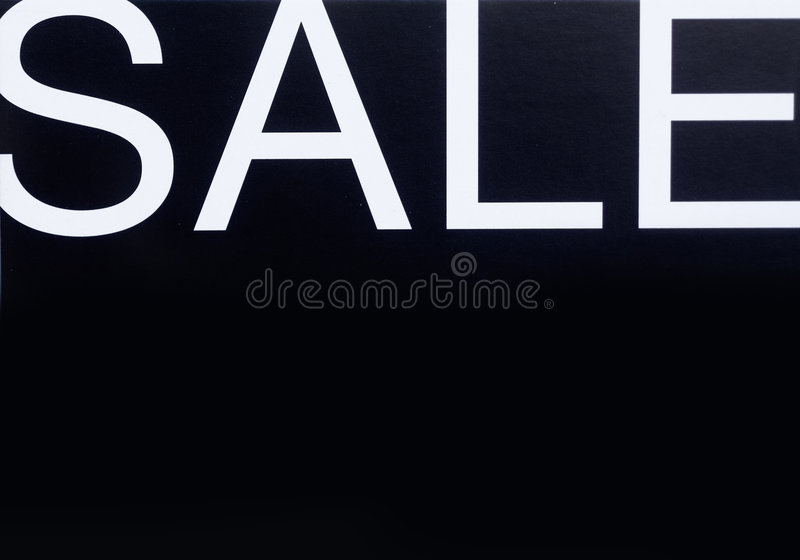Sale store sign. Elegant white on black retail store sale sign stock image