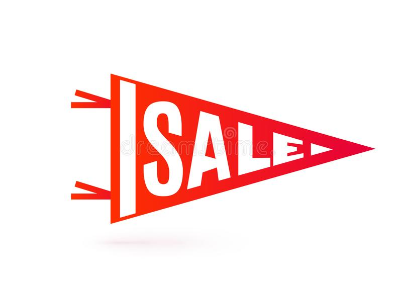 Sale tag design. Pennant flag typography motion concept. Sale tag design. Bright red color pennant flag typography motion concept. Vector illustration royalty free illustration