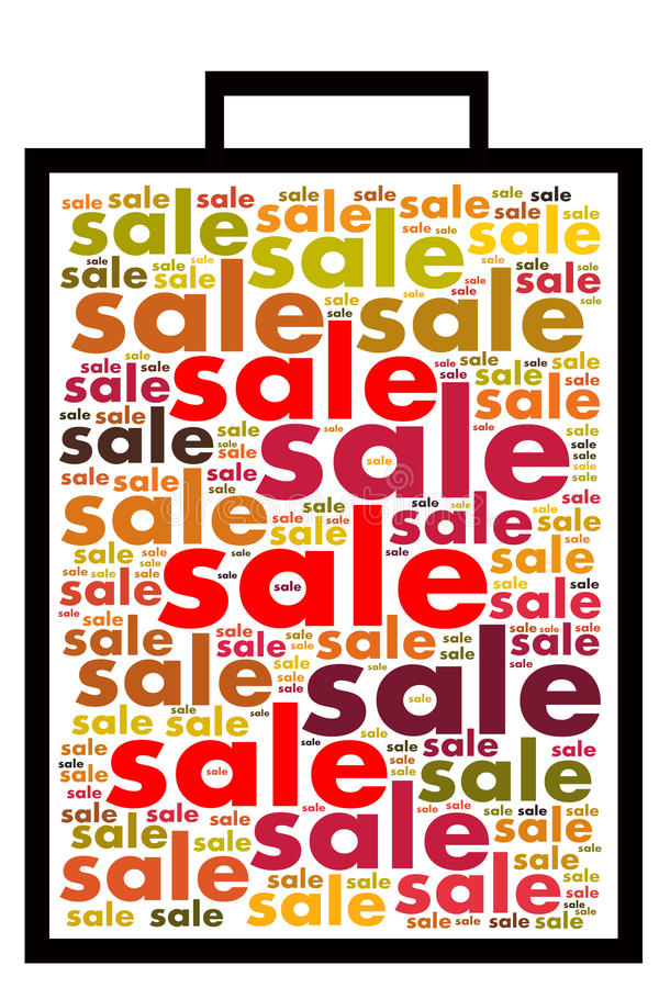 Sale Tag Design with word collage on white background stock images