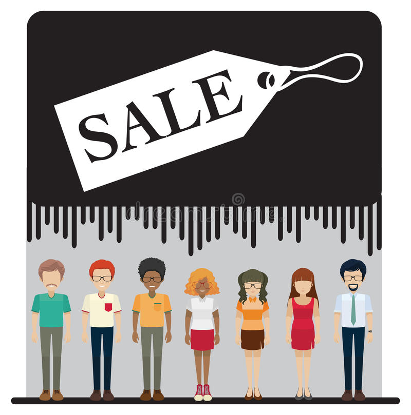 A sale tag with faceless people. On a white background stock illustration