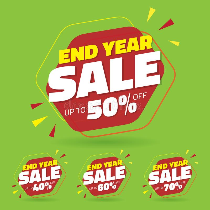 Sale Tag Marketing Retail Element Design with Multiple Discount Set - Vector.  royalty free illustration