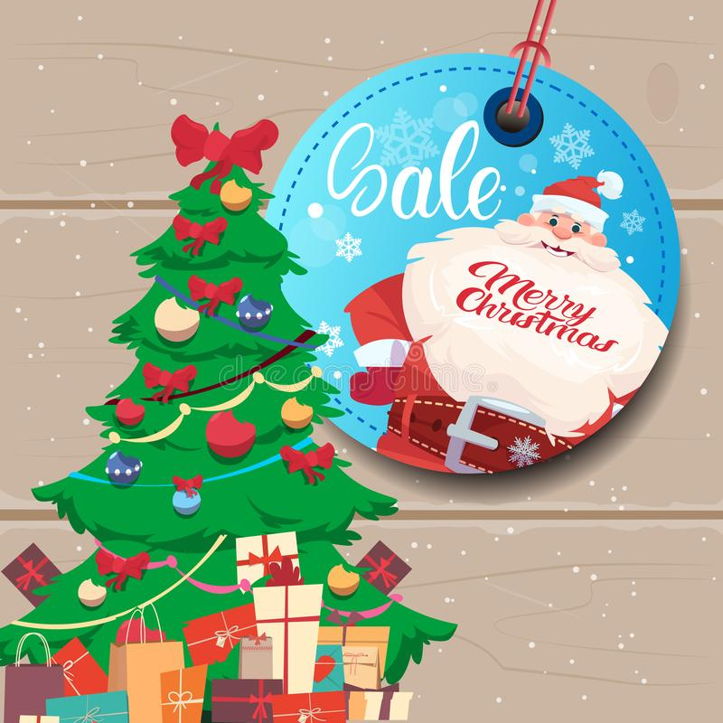 Sale Tag Marry Christmas Concept Shopping Poster Background With Pine Tree. Flat Vector Illustration vector illustration