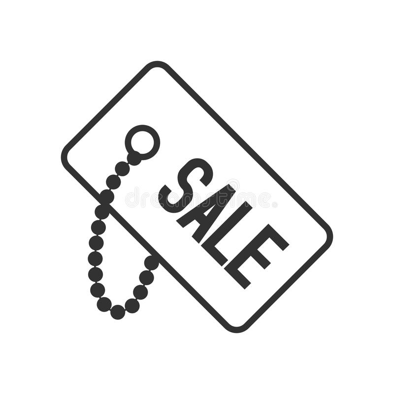 Sale Tag Outline Flat Icon on White royalty free illustration