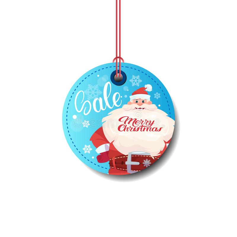 Sale Tag With Santa Merry Christmas Sticker Isolated On White Background vector illustration