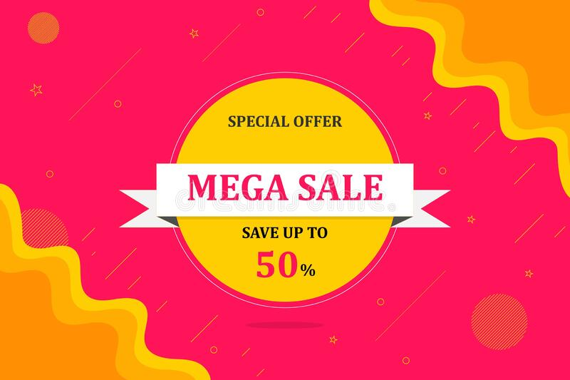MEGA SALE banner, Special offer, 50% off royalty free stock photo