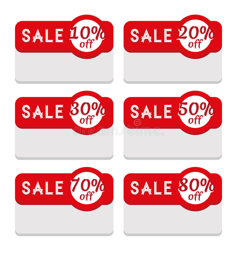 Sale Tag Template Featuring Various Discount Percentage Stock Vector