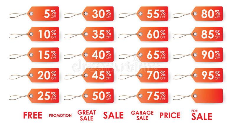 Sale tags. Various sale tags varying in percentage discounts royalty free illustration