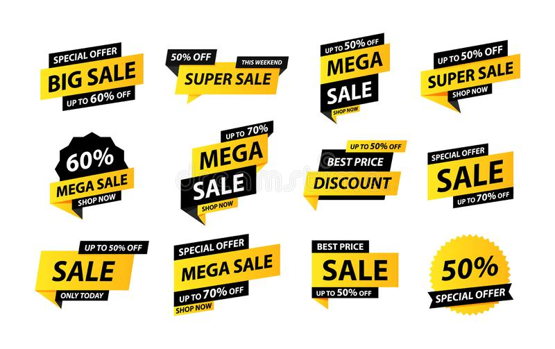 Sale tags collection. Special offer, big sale, discount, best price, mega sale banner set. Shop or online shopping. Sticker, badge. Coupon store Vector royalty free illustration