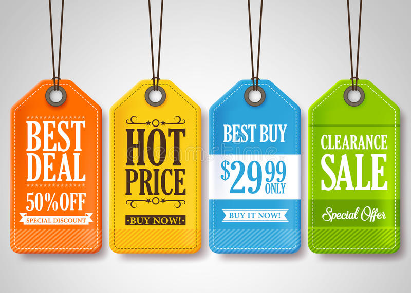 Sale Tags Design Collection Hanging with Different Colors stock illustration