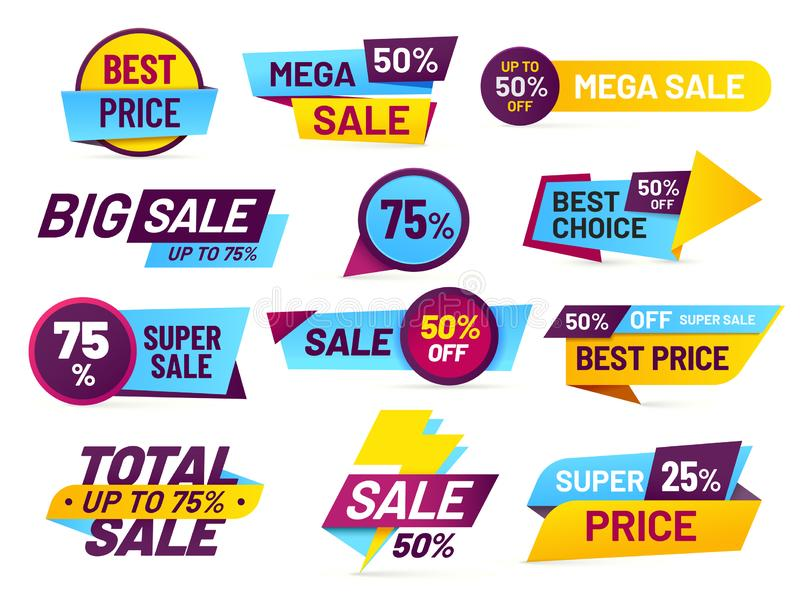 Sale tags. Retail sales stickers, promotion price label and store pricing banner sticker isolated vector set royalty free illustration