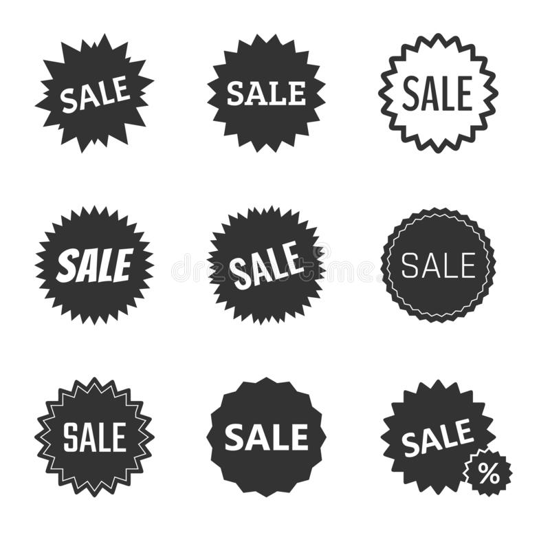 Sale tags set, sale badges and icons in vector stock illustration