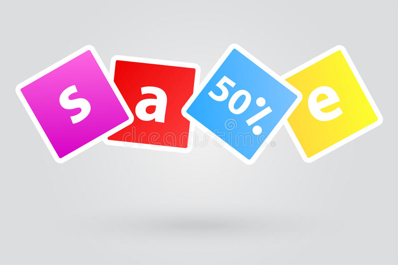 Sale tecken femtio procent befordrings- rabatt royaltyfri illustrationer