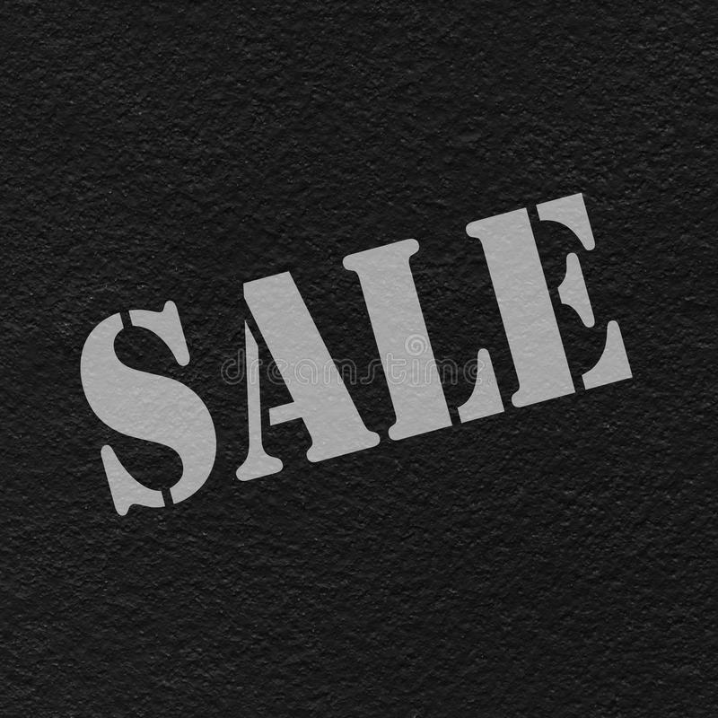 Sale text. Gray  on the black wall texture stock illustration