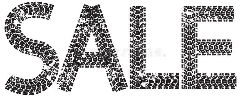 Sale text med bokstäverna som göras från motorcykelgummihjulspår stock illustrationer