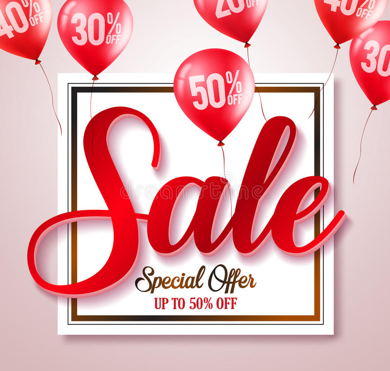 Sale text typography vector banner with percent written in red balloons royalty free illustration