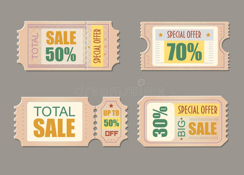 Sale tickets. Coupon price, promotion discount illustration Vector vector illustration