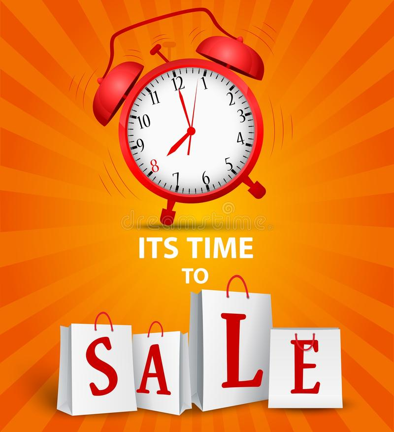 Sale time concept. Illustration of Sale time concept on orange background vector illustration