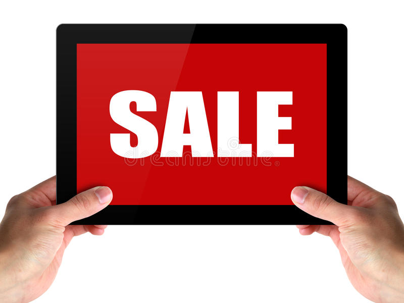 Sale Time. Hands holding a tablet with SALE on white stock photography