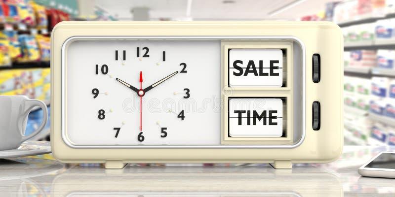 Sale time text on retro alarm clock, blurry shop background. 3d illustration. royalty free illustration