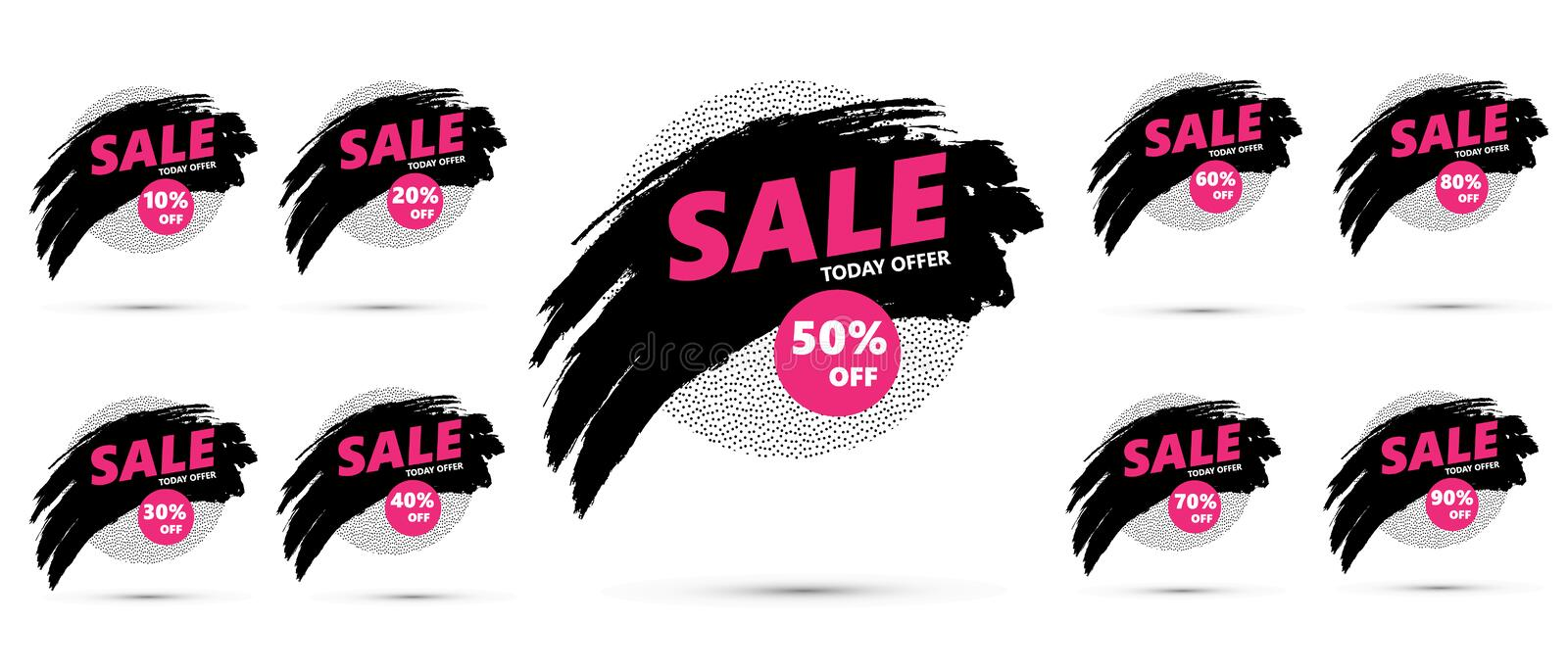 SALE today special offer. Sale tags set vector badges template, up to 10, 20, 30, 40, 50, 60, 70, 80, 90 percent off. SALE symbols vector illustration