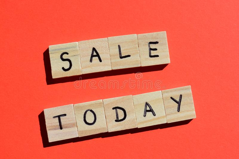 Sale Today on red background stock photo
