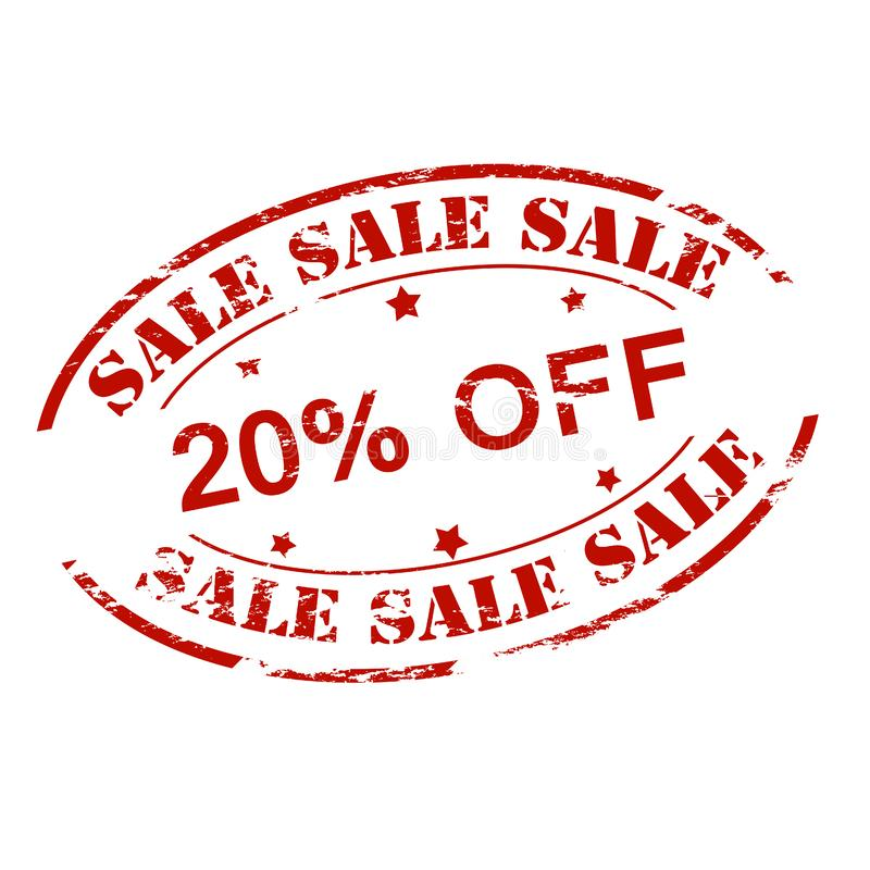 Sale twenty percent off royalty free illustration