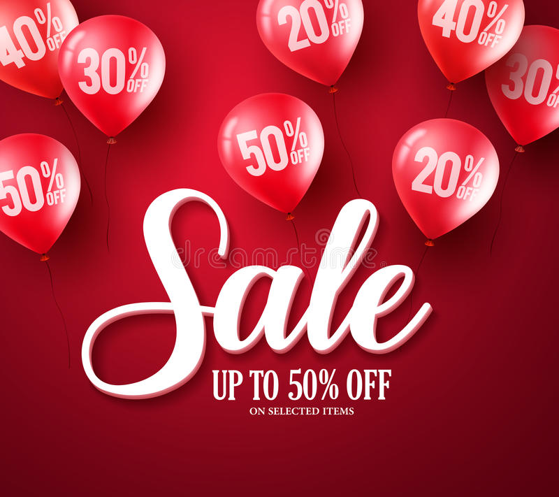 Sale typography text vector banner design with red balloons elements stock illustration