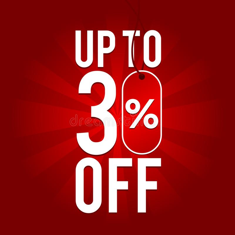 Free Sale Up To 30 Off On Red Background. Royalty Free Stock Photos - 109682878