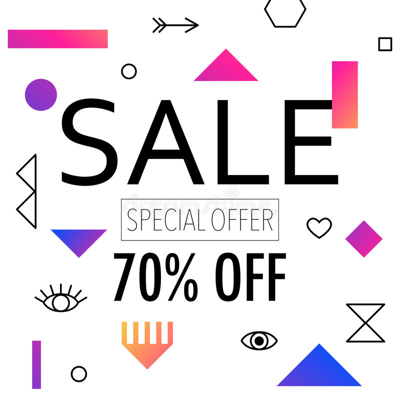 Sale up to 50% off colorful bright poster promo department store. Fashion product discount . Vector illustration. 80s - 90s Memphis style vector illustration