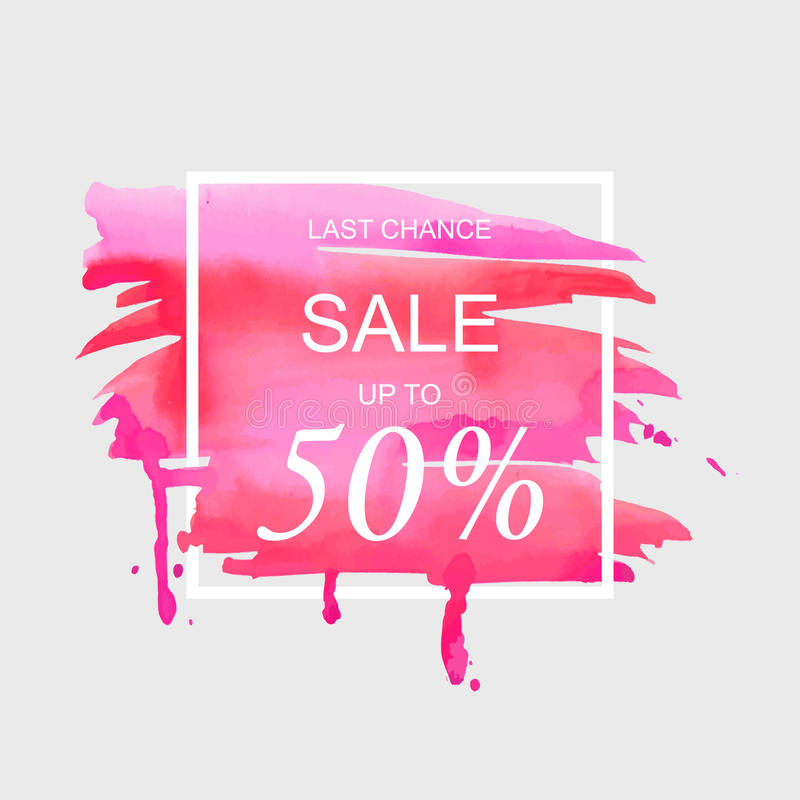 Sale up to 50 percent off sign over art brush watercolor stroke paint abstract texture background vector illustration. royalty free illustration