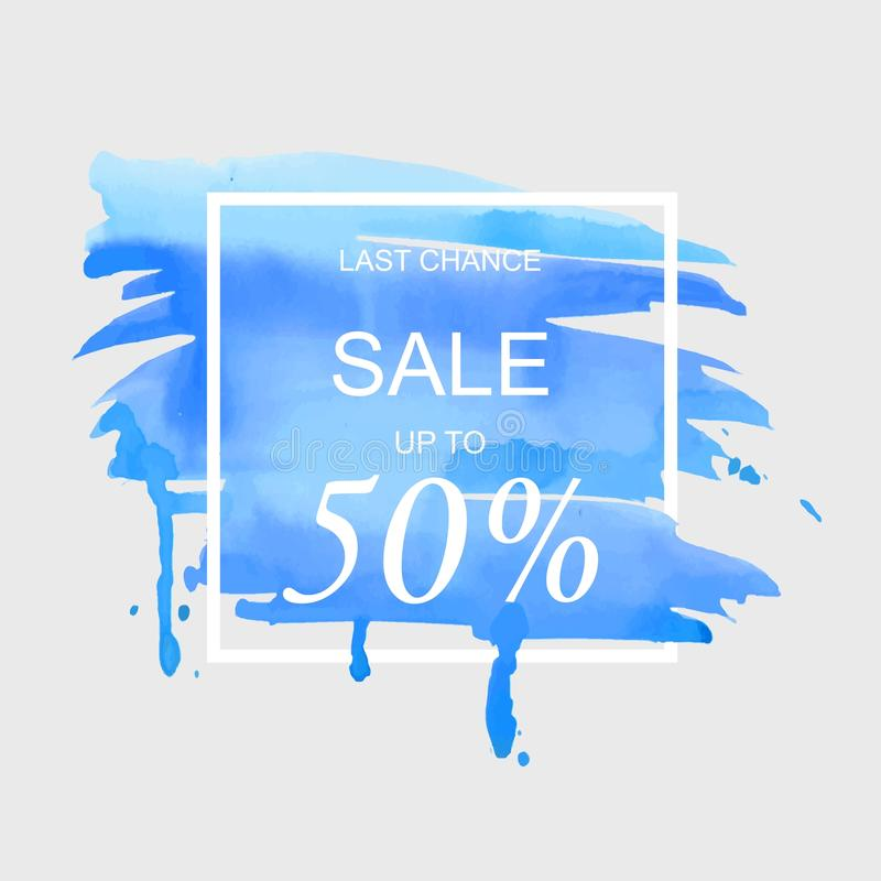 Sale up to 50 percent off sign over art brush watercolor stroke paint abstract texture background vector illustration. vector illustration