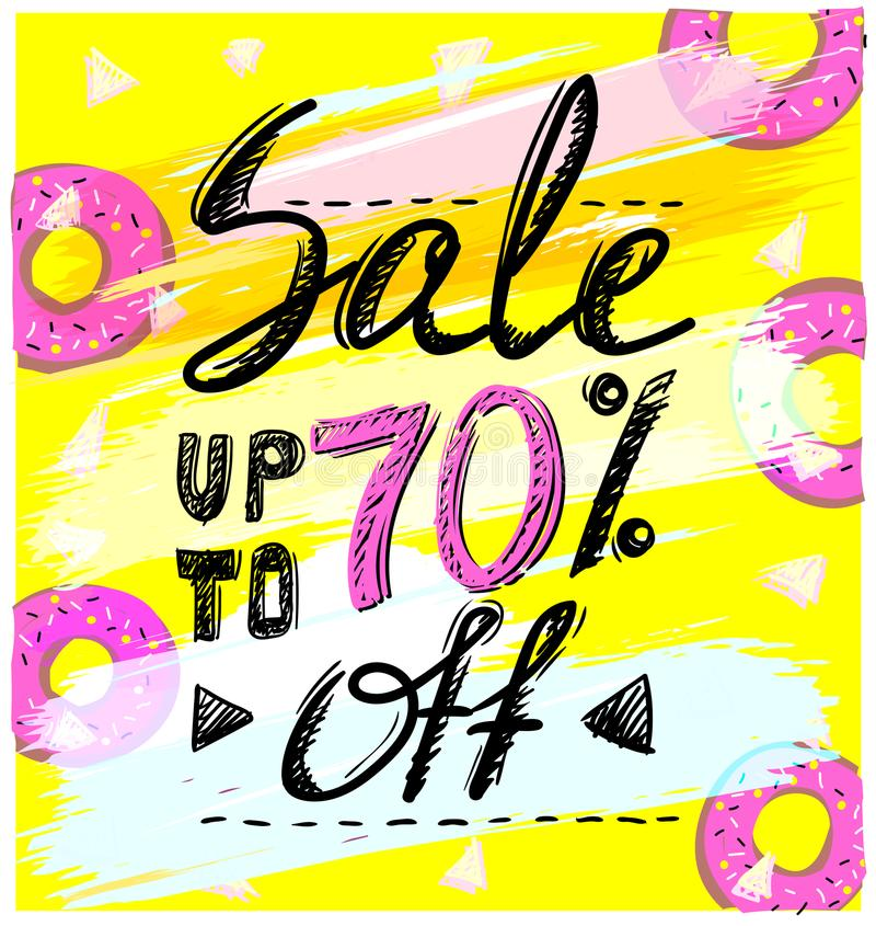 Sale up to 70 percents, hand drawn calligraphic vector banner. Concept vector illustration