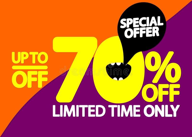 Sale upp till 70% av, affischdesignmall, specialt erbjudande, vektorillustration vektor illustrationer