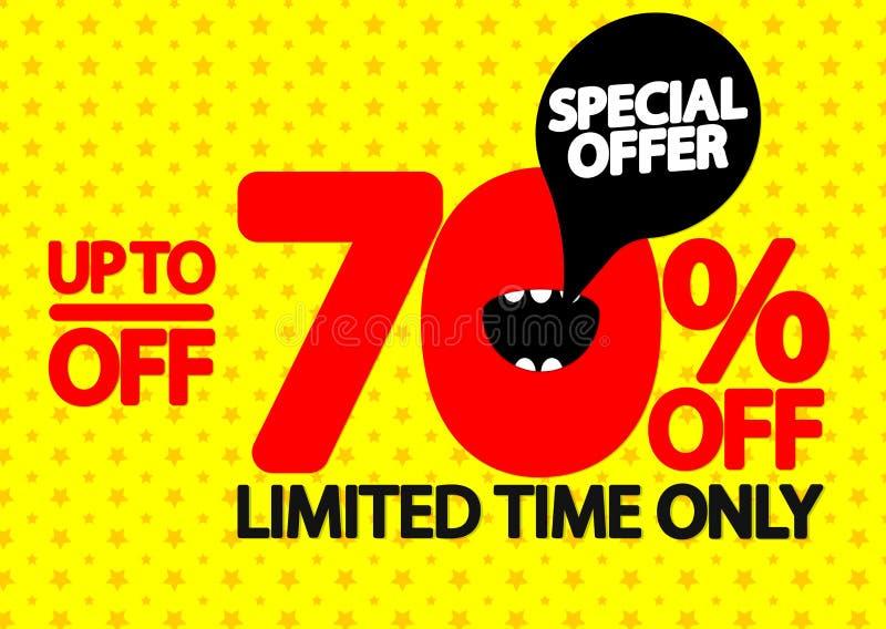 Sale upp till 70% av, affischdesignmall, specialt erbjudande, vektorillustration stock illustrationer