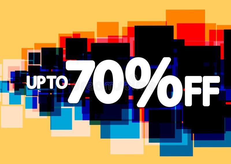 Sale upp till 70% av, affischdesignmall, vektorillustration vektor illustrationer