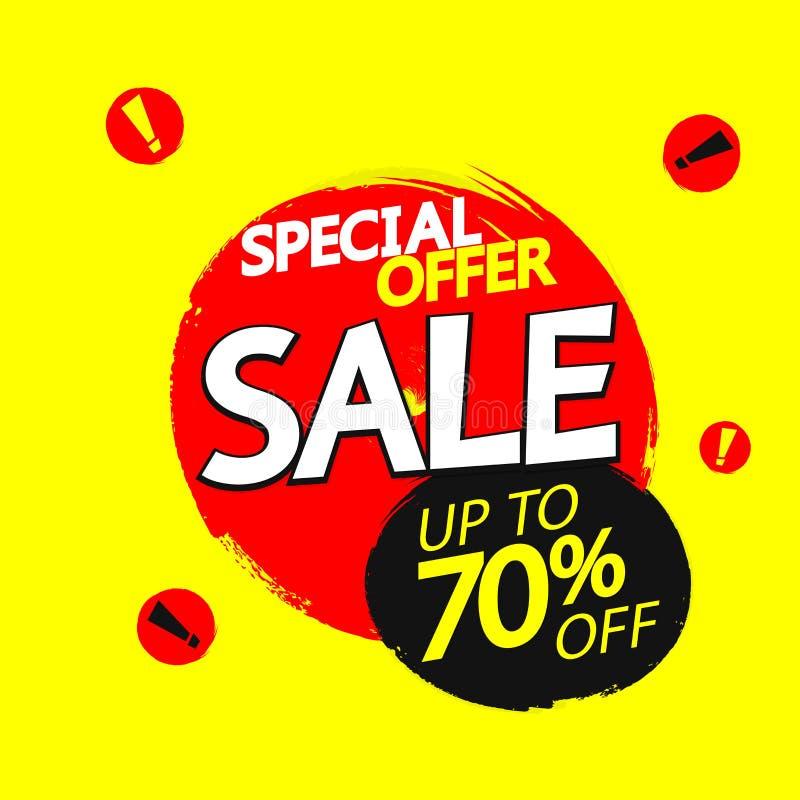 Sale upp till 70% av, banerdesignmall, specialt erbjudande, rabattetikett, vektorillustration stock illustrationer