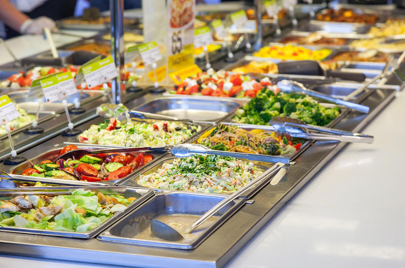 Sale variety of different salads royalty free stock photo