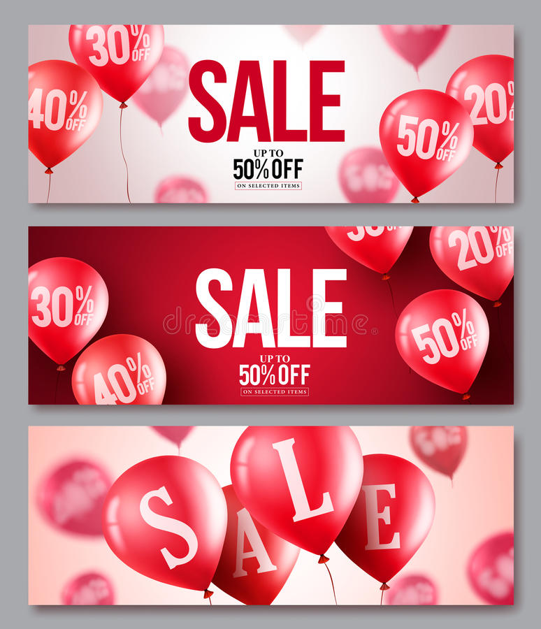 Sale vector balloons banner set. Collections of flying balloons with 50 percent off royalty free illustration